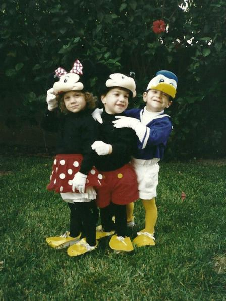 My brothers and I as Minnie, Mickey, and Donald for Halloween 1993