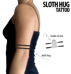 sloth hug tattoo
