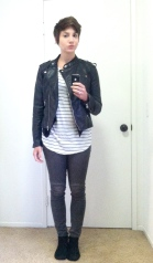stripes and black outfit