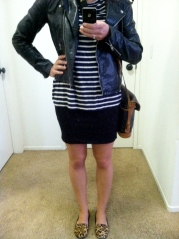 stripes and leather with leopard shoes