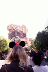 Mickey and Minnie fans at Disneyland, Tower of Terror, California Adventure