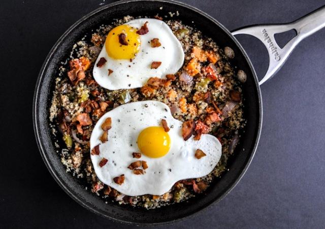 Thanksgiving Leftovers for Breakfast. Egg, Sweet Potatoes, Turkey