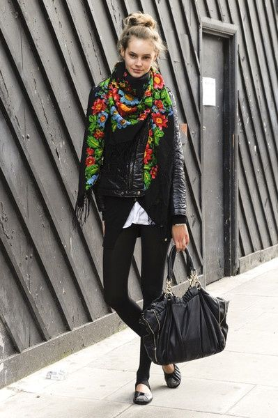 Black Outfit with a Scarf Color Pop