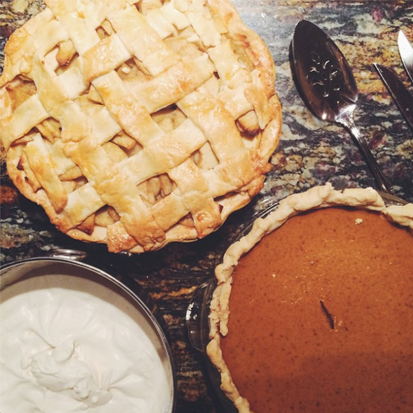 homemade apple and pumpkin pie for thanksgiving