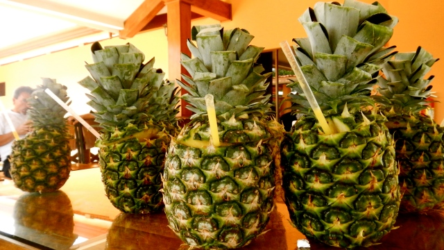 Pineapple drinks in Costa Rica