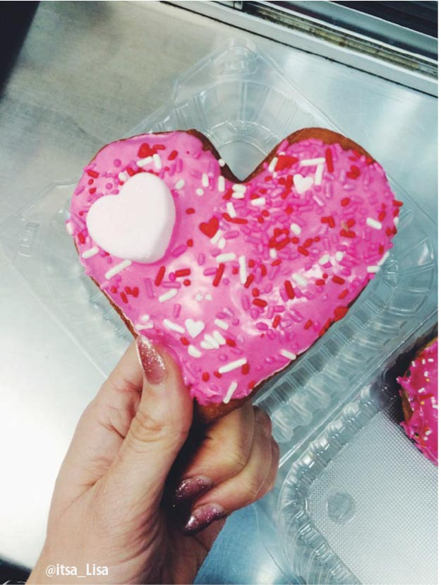 Pink Sprinkle California Donuts With Donut Heart For Valentine's Day | The Best Donuts in LA
