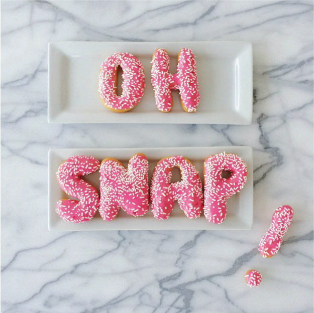 OH SNAP Letter Donut - Pink Sprinkles via Studio DIY | Keep Reading For 7 Donut Tips That Will DEFINITELY Change Your Life at https://itsalisa.com/2016/01/31/california-donuts/