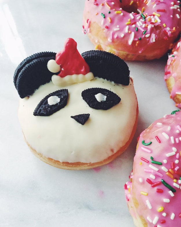 Panda Santa Donut from California Donuts | Keep Reading For 7 Donut Tips That Will DEFINITELY Change Your Life at https://itsalisa.com/2016/01/31/california-donuts/