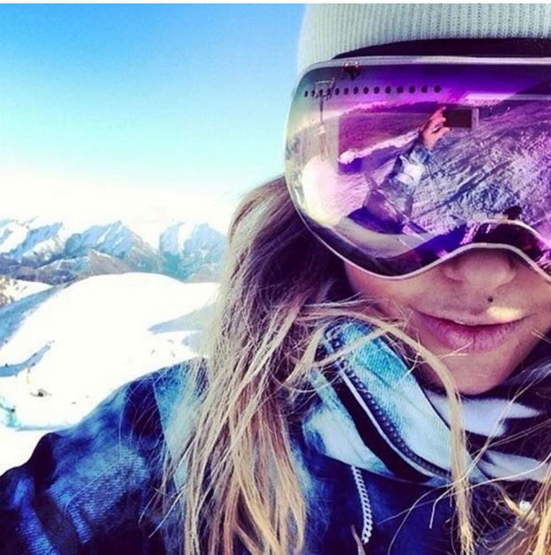 Cute Snow Goggles With Snowy Landscape | Pink Lens Ski Goggles
