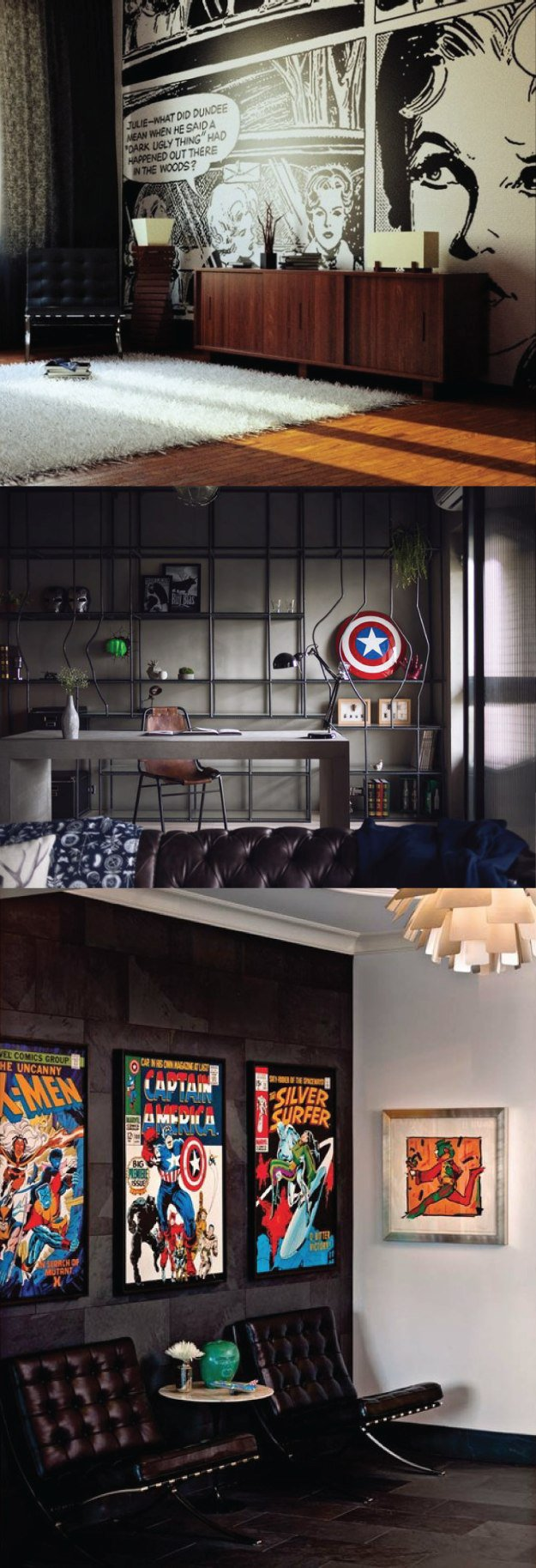 Comic Themed Men's Office. This dark black wall studio has a touch of superhero and comic decor paired with elegant modern furnishings to show taste and style. | 10 Man Cave Ideas For Real Men