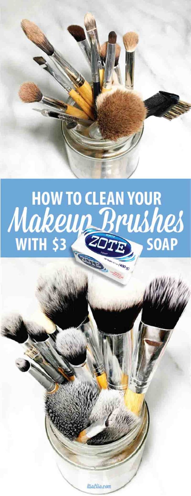 How To Wash Makeup Brushes With Zote Soap - This bright & quick soap makes cleaning your brushes a breeze! Less than 10 minutes to fluffy white makeup brushes!