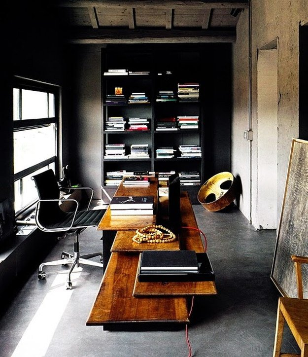 Bon Black Walls Contrasted With Good Lighting In Your Menu0027s Office With Exposed  Cement Ceilings And Floors