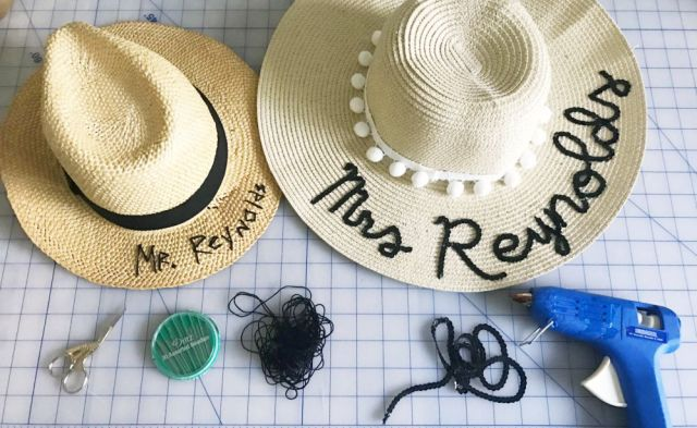DIY Embroidered Sun Hat (Easy No Sew Tutorial) | Easy Homemade Couple's Honeymoon Gift