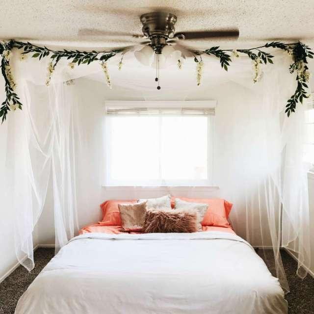 Bohemian Canopy King Bed, minimalist - Lisa's BohouHouse @BohoHouse_ATX