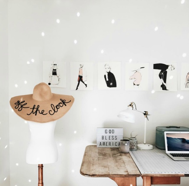 Cute Chic Boho Bohemian Office with Dress Stand, Sun hat, Garance Dore wall art, and target decor (obviously my dream office!) - Lisa's BohouHouse @BohoHouse_ATX