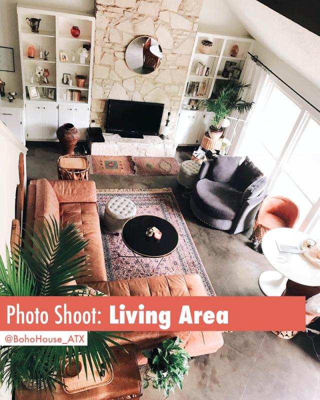 Gorgeous mid century bohemian eclectic living room available for photo shoots | Book BohoHouse_ATX on Peerspace For Events and PhotoShoots