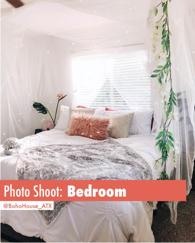 Beautiful light and bright bedroom available for photo shoots | Book BohoHouse_ATX on Peerspace For Events and Photoshoots!